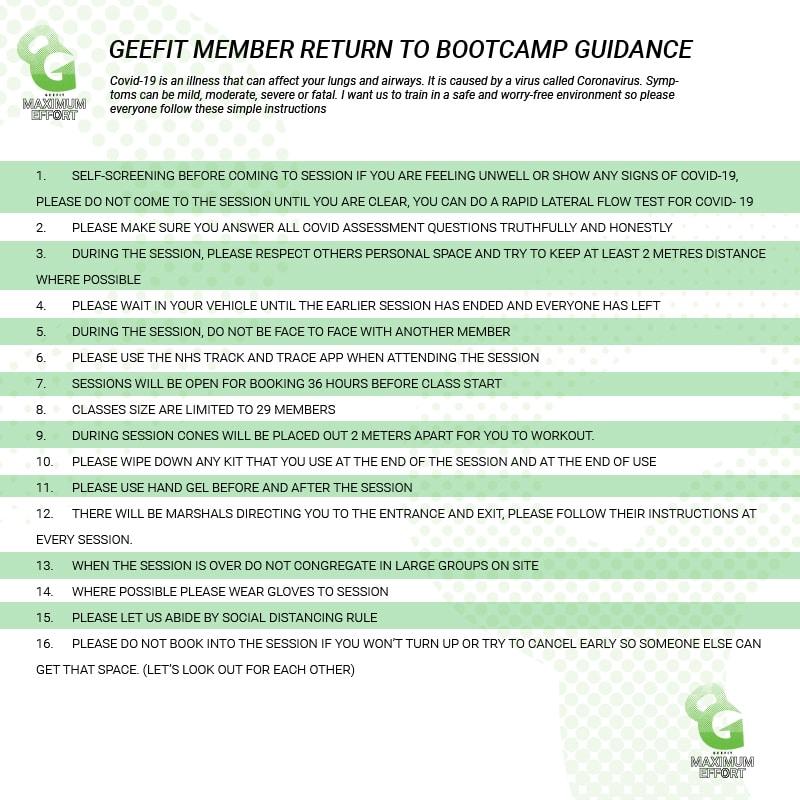 Geefit Member return to bootcamp guidance